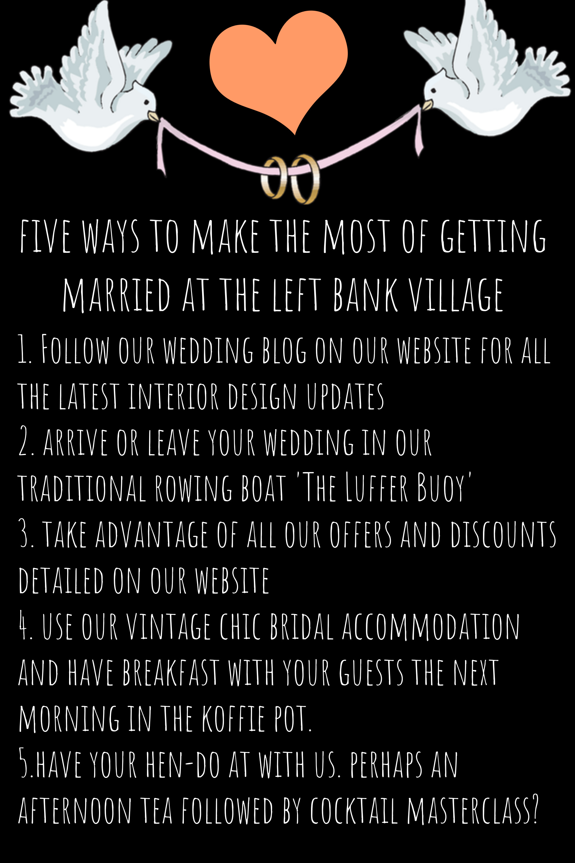 Five ways to make the most of getting married at The Left Bank Village..